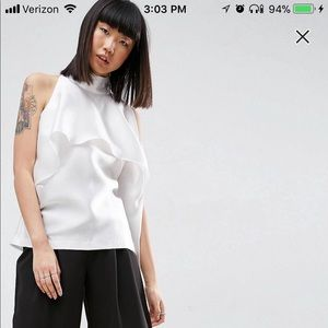 Sleeveless top with frill detail